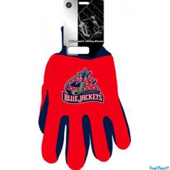 Columbus Blue Jackets two tone utility gloves | Final Playoff