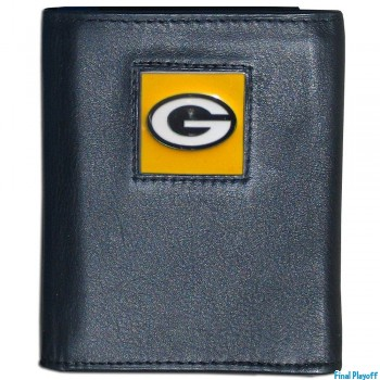 Green Bay Packers black leather tri-fold wallet | Final Playoff