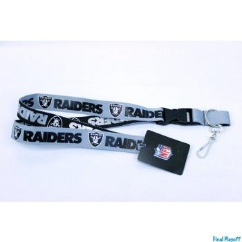 Oakland Raiders lanyard keychain detachable 2 tone | Final Playoff