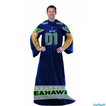 Seattle Seahawks fleece throw blanket with sleeves | Final Playoff