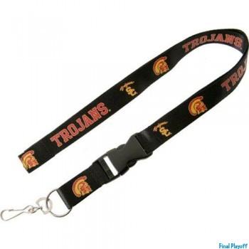 USC Trojans lanyard keychain detachable black | Final Playoff