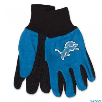 Detroit Lions two tone utility gloves | Final Playoff