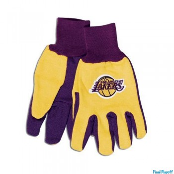 Los Angeles Lakers two tone utility gloves | Final Playoff