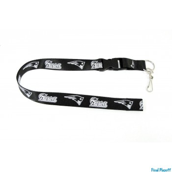 New England Patriots lanyard keychain detachable black | Final Playoff