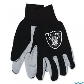 Oakland Raiders two tone utility gloves | Final Playoff