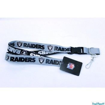 Oakland Raiders lanyard keychain detachable 2 tone | Final Playoff