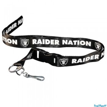 Oakland Raiders lanyard keychain detachable black   Final Playoff