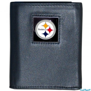 Pittsburgh Steelers black leather tri-fold wallet | Final Playoff