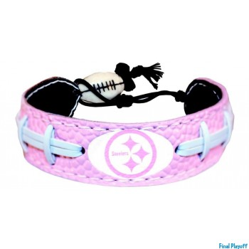 Pittsburgh Steelers leather bracelet pink | Final Playoff