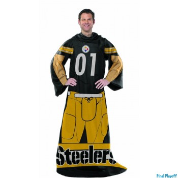 Pittsburgh Steelers fleece throw blanket with sleeves | Final Playoff