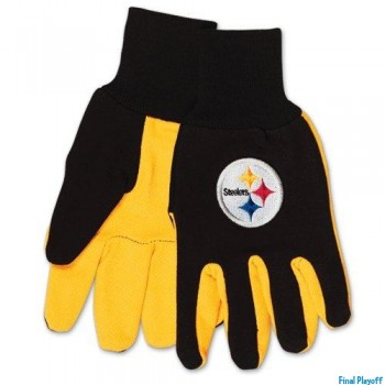 Pittsburgh Steelers two tone utility gloves | Final Playoff