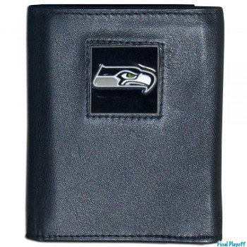 Seattle Seahawks black leather tri-fold wallet | Final Playoff