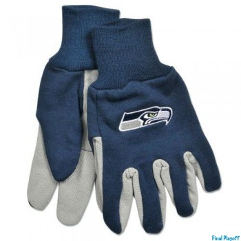 Seattle Seahawks two tone utility gloves | Final Playoff