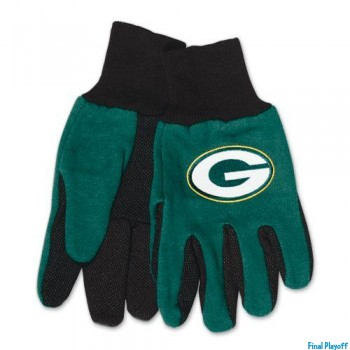 Green Bay Packers two tone utility gloves | Final Playoff