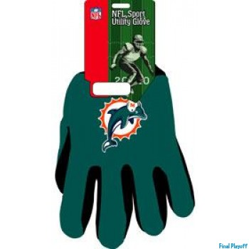 Miami Dolphins two tone utility gloves | Final Playoff
