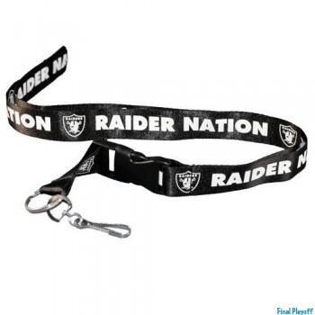 Oakland Raiders lanyard keychain detachable black | Final Playoff